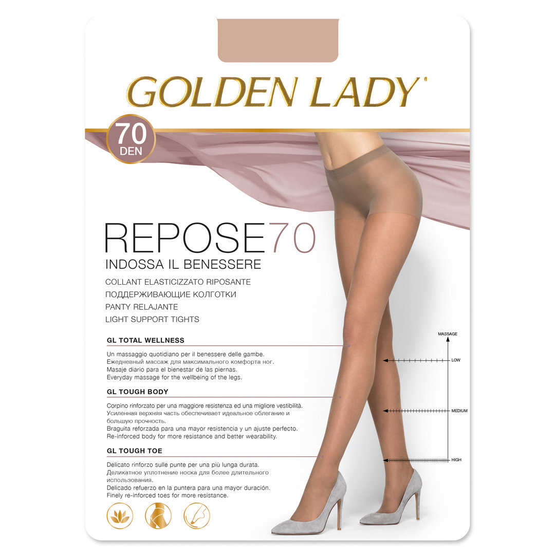 GOLDEN LADY - Collant 70 denari elasticizzato riposante - Compressione graduata - REPOSE 70