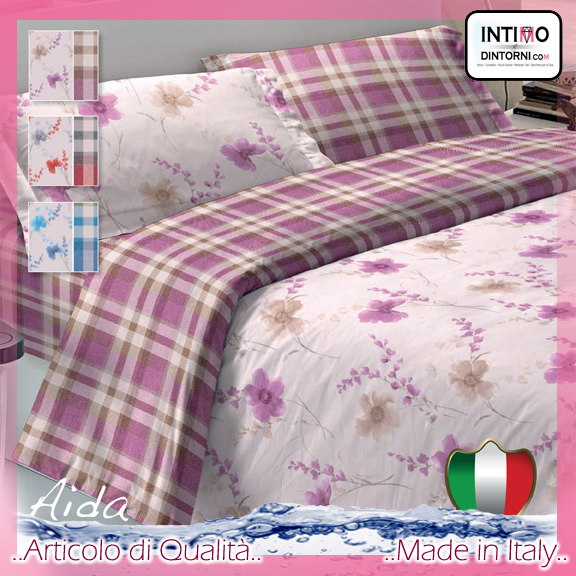 Completo Lenzuola Note Notturne in Puro Cotone AIDA Svtx