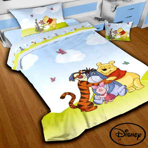 Completo Lenzuola Singolo Winnie The Pooh Azzurro in Puro Cotone Originale DISNEY Stampa Digitale