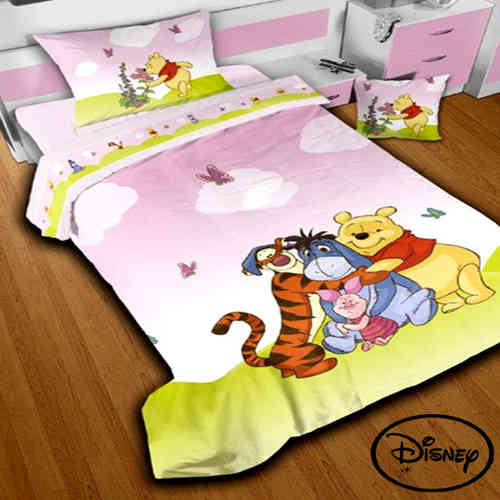 Completo Lenzuola Singolo Winnie The Pooh Rosa in Puro Cotone Originale DISNEY Stampa Digitale