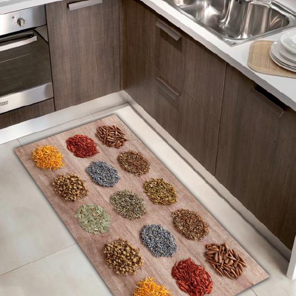 Tappeto Passatoia Cucina KITCH Ecologico in Microciniglia con Antiscivolo  disegno SPEZIE