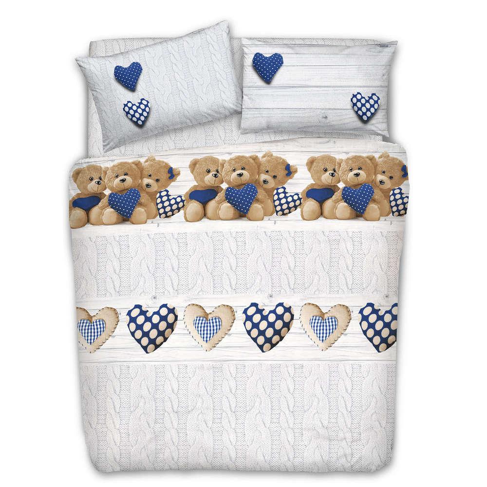 Copripiumino Matrimoniale Prezzo Piu Basso.Parure Copripiumino Orsi Peluche Cuori Pois Blu 100 Cotone Made